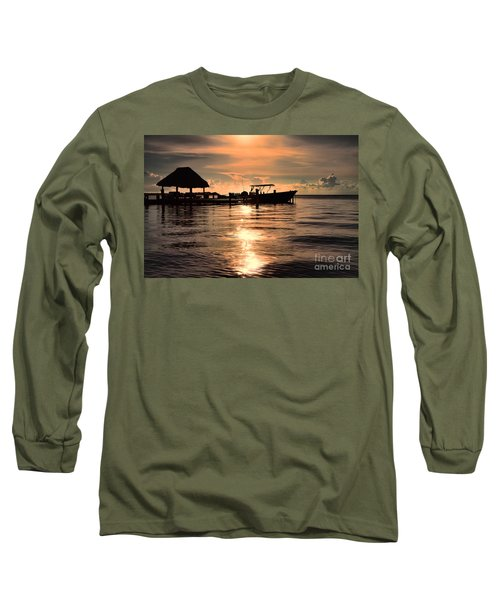 Long Sleeve T-Shirt featuring the photograph Caye Caulker At Sunset by Lawrence Burry
