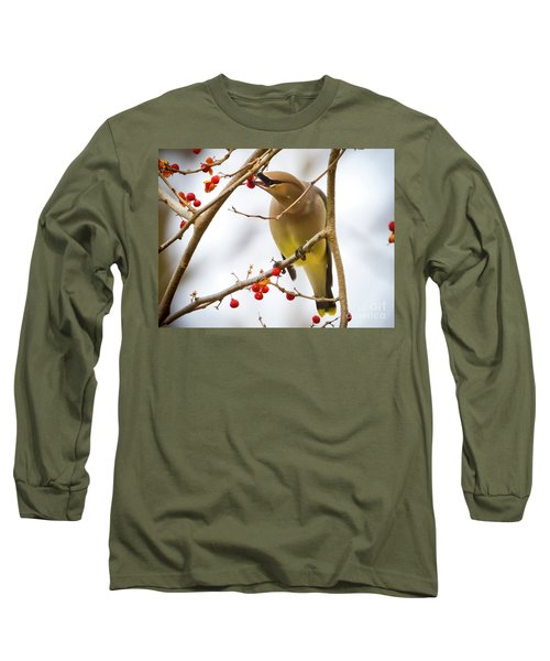 Cedar Waxwing Feeding  Long Sleeve T-Shirt
