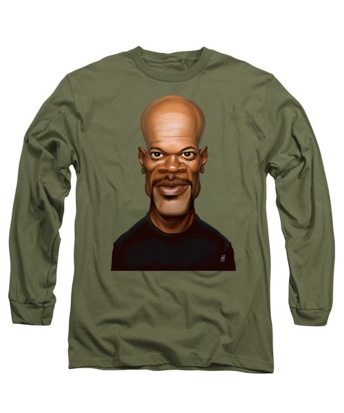 Long Sleeve T-Shirt featuring the drawing Celebrity Sunday - Samuel L Jackson by Rob Snow