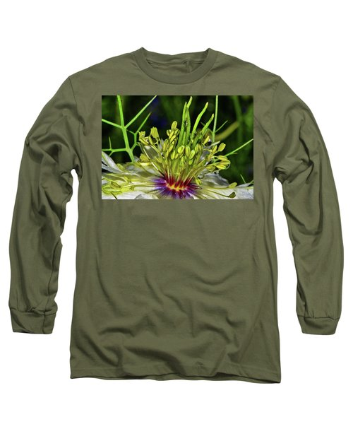 Centerpiece - Love In The Mist Macro Long Sleeve T-Shirt by George Bostian