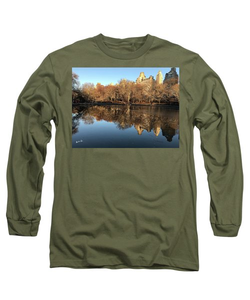 Long Sleeve T-Shirt featuring the photograph Central Park City Reflections by Madeline Ellis
