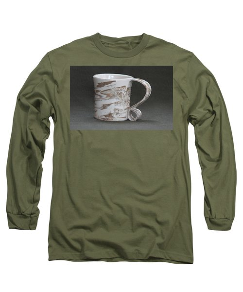 Ceramic Marbled Clay Cup Long Sleeve T-Shirt by Suzanne Gaff