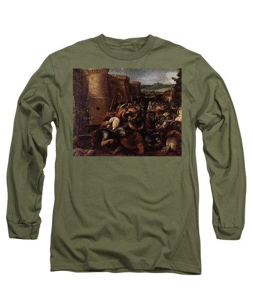 Cesari Giuseppe St Clare With The Scene Of The Siege Of Assisi Long Sleeve T-Shirt by Giuseppe Cesari