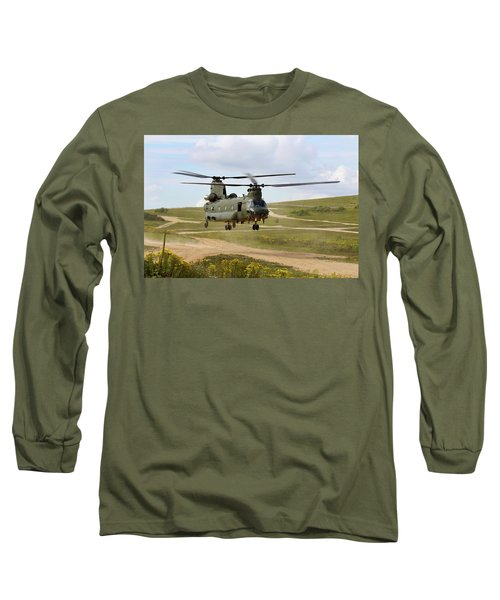 Ch47 Chinook In The Dust Bowl Long Sleeve T-Shirt by Ken Brannen