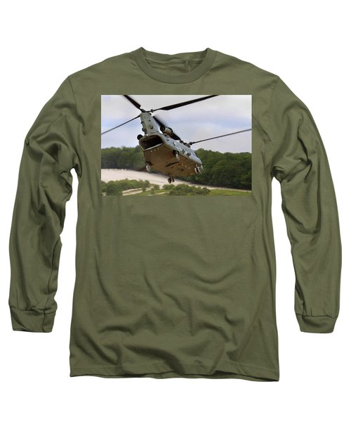 Ch47 Chinook On Manoeuvres Long Sleeve T-Shirt by Ken Brannen