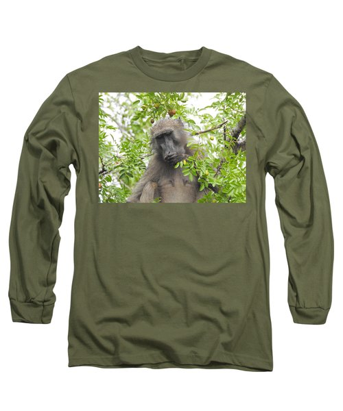 Chacma Baboon Long Sleeve T-Shirt by Betty-Anne McDonald