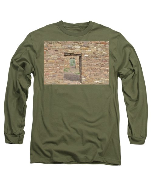 Long Sleeve T-Shirt featuring the photograph Chaco Canyon Doors by Debby Pueschel