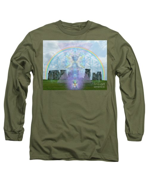 Chalice Over Stonehenge In Flower Of Life And Man Long Sleeve T-Shirt by Christopher Pringer
