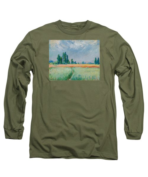 Long Sleeve T-Shirt featuring the painting Champ De Ble by Claude Monet