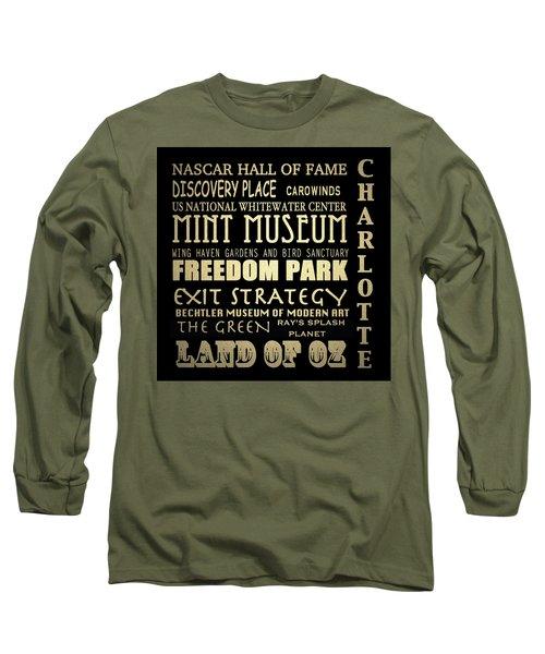 Charlotte North Carolina Famous Landmarks Long Sleeve T-Shirt