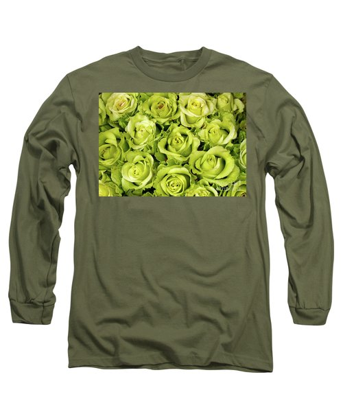 Chartreuse Colored Roses Long Sleeve T-Shirt