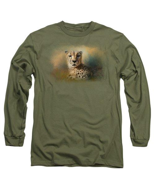 Cheetah Enjoying A Summer Day Long Sleeve T-Shirt by Jai Johnson