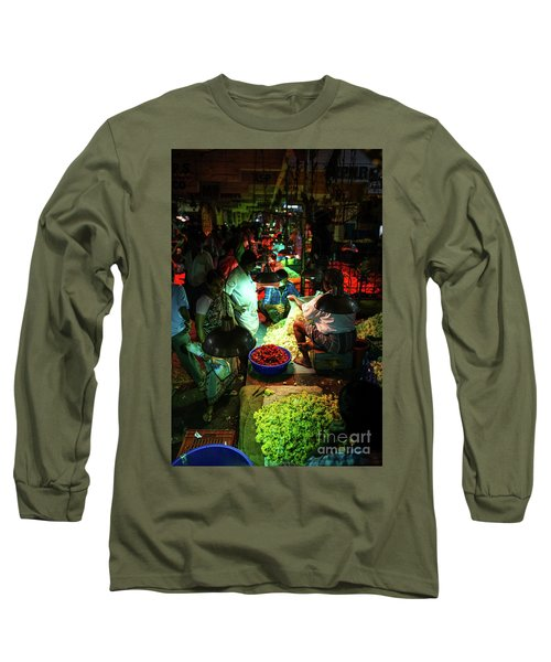 Long Sleeve T-Shirt featuring the photograph Chennai Flower Market Stalls by Mike Reid