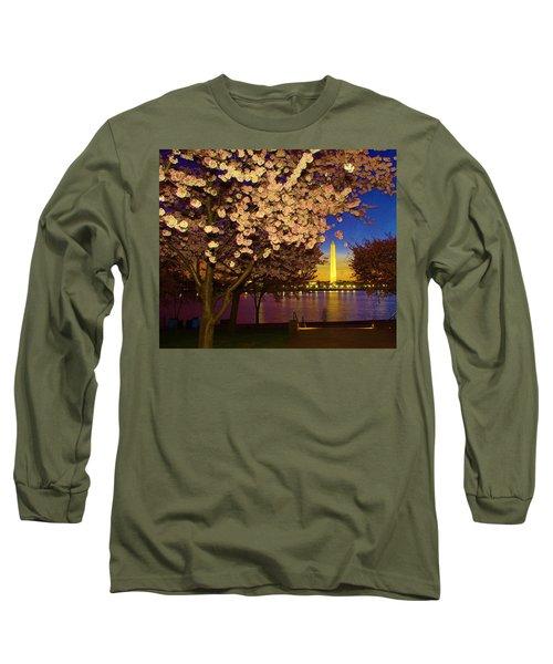 Cherry Blossom Washington Monument Long Sleeve T-Shirt