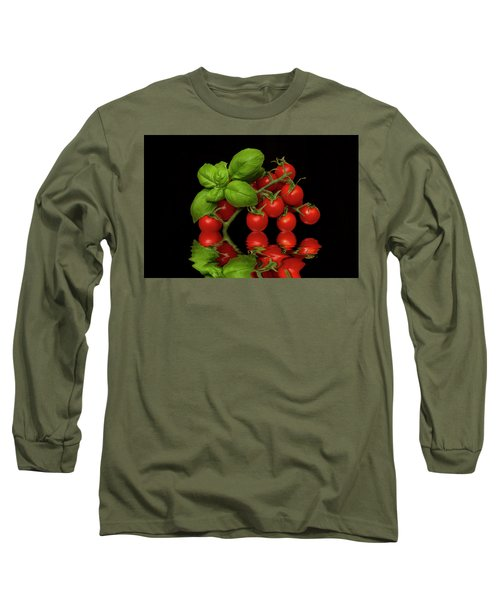 Long Sleeve T-Shirt featuring the photograph Cherry Tomatoes And Basil by David French