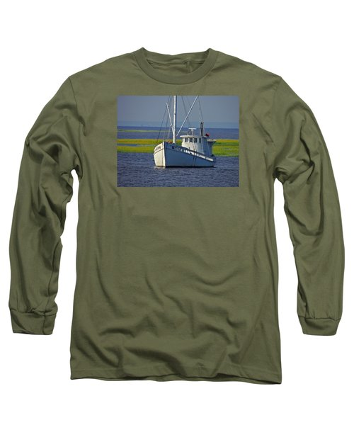 Long Sleeve T-Shirt featuring the photograph Chesapeake Buy Boat by Laura Ragland