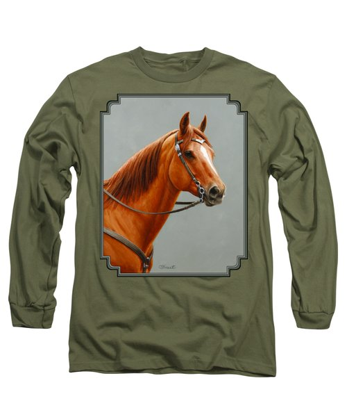 Chestnut Dun Horse Painting Long Sleeve T-Shirt by Crista Forest