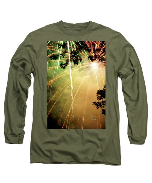 Long Sleeve T-Shirt featuring the photograph Chetola Yellow Fireworks by Meta Gatschenberger