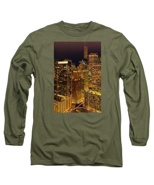 Chicago At Night Long Sleeve T-Shirt by Joni Eskridge