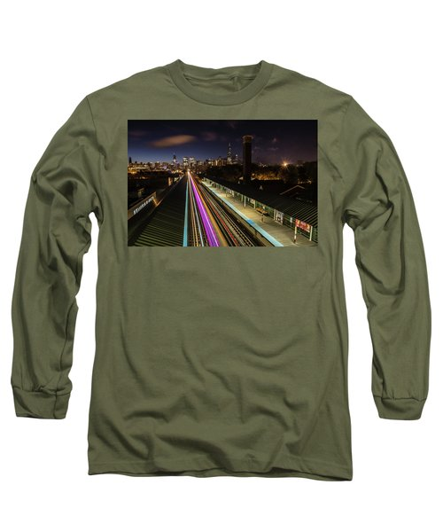 Chicago Skyline And Train Lights Long Sleeve T-Shirt