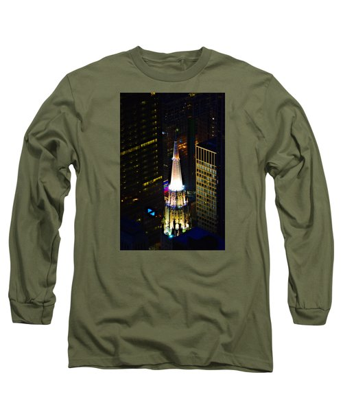 Long Sleeve T-Shirt featuring the photograph Chicago Temple Building Steeple by Richard Zentner