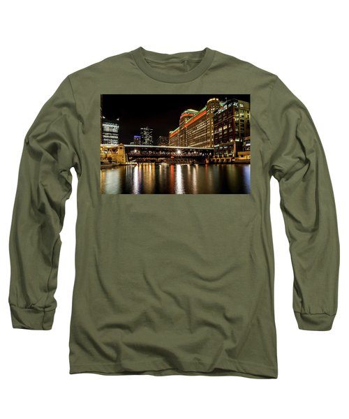 Chicago's Merchandise Mart At Night Long Sleeve T-Shirt