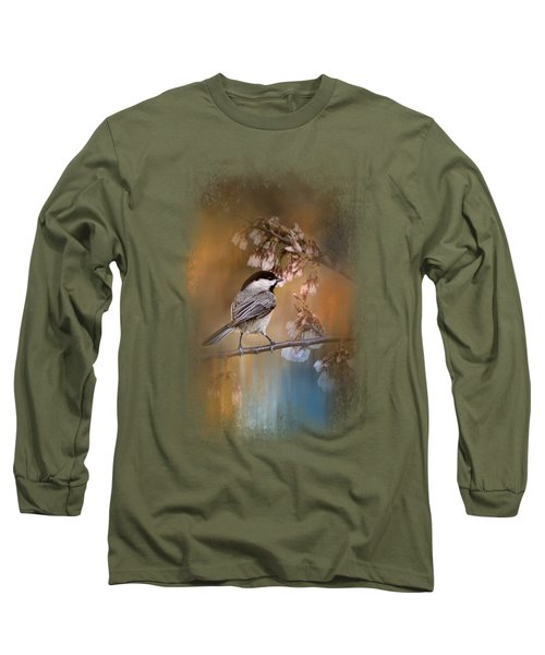 Chickadee In The Garden Long Sleeve T-Shirt by Jai Johnson