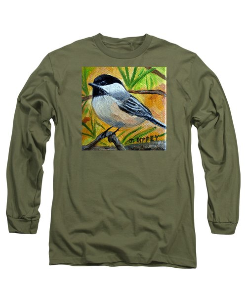 Chickadee In The Pines - Birds Long Sleeve T-Shirt by Julie Brugh Riffey