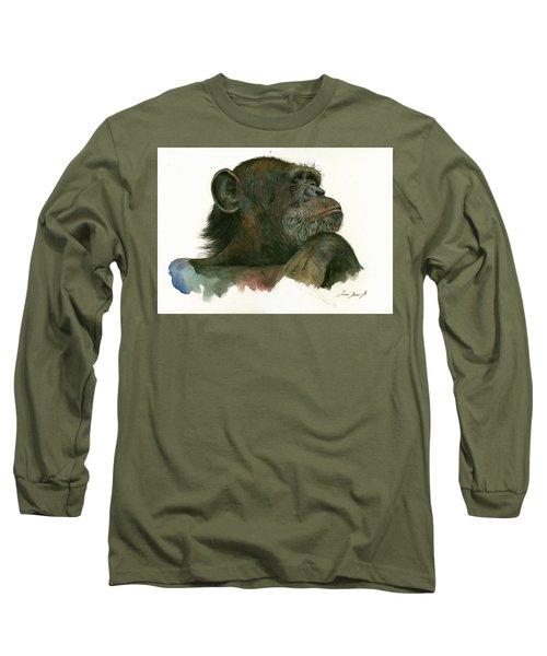 Chimp Portrait Long Sleeve T-Shirt by Juan Bosco