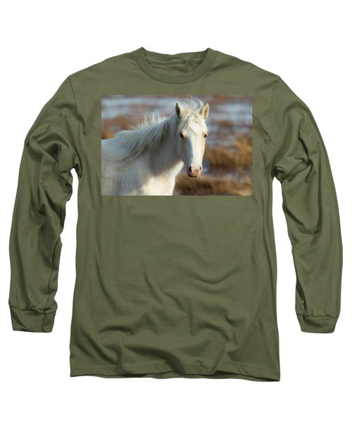 Chincoteague White Pony Long Sleeve T-Shirt