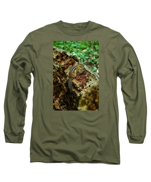 Long Sleeve T-Shirt featuring the photograph Chipmunk by Nikki McInnes