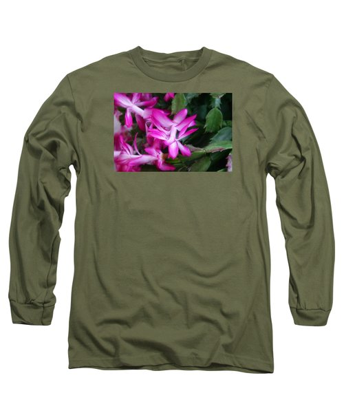 Long Sleeve T-Shirt featuring the photograph Christmas Cactus by Joan Bertucci