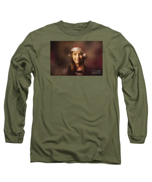 Long Sleeve T-Shirt featuring the photograph Christmas Disco Dj Woman by Jorgo Photography - Wall Art Gallery