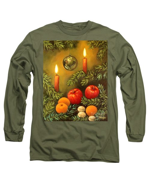 Long Sleeve T-Shirt featuring the painting Christmas Lights by Inese Poga