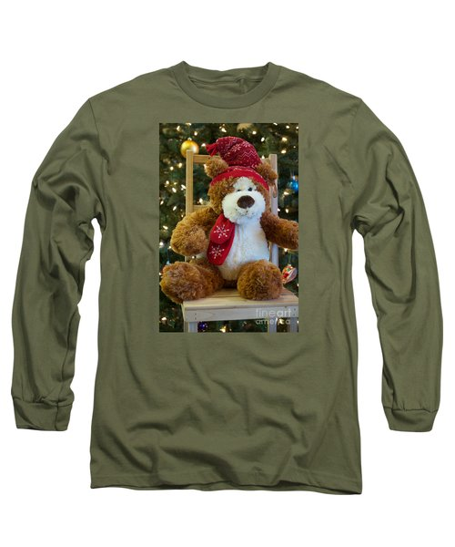 Christmas Teddy Bear Long Sleeve T-Shirt by Vinnie Oakes