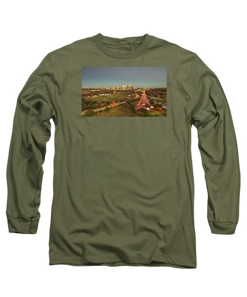 Christmas Tree In Austin Long Sleeve T-Shirt by Andrew Nourse