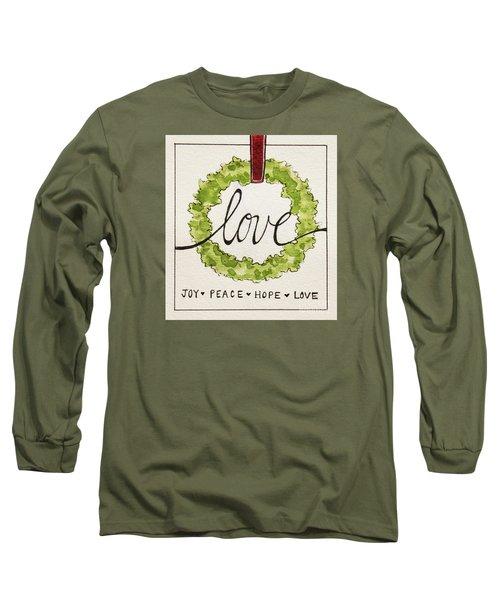 Christmas Wreath Long Sleeve T-Shirt by Elizabeth Robinette Tyndall