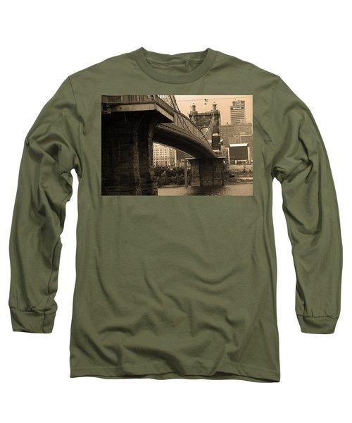 Cincinnati - Roebling Bridge 2 Sepia Long Sleeve T-Shirt by Frank Romeo