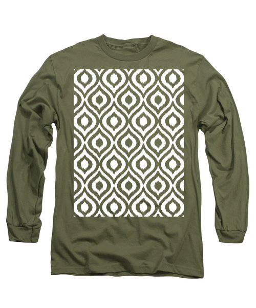 Circle And Oval Ikat In White T05-p0100 Long Sleeve T-Shirt