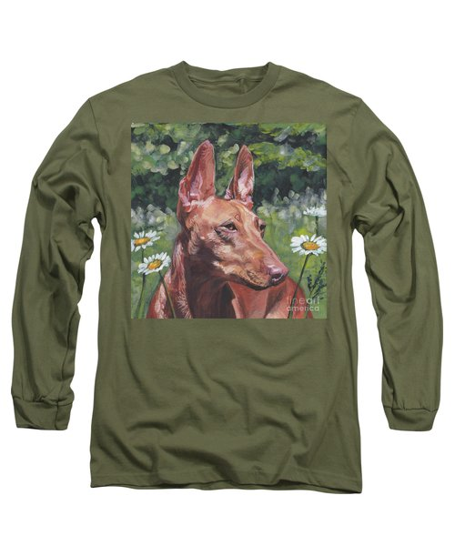 Long Sleeve T-Shirt featuring the painting Cirneco Dell'etna by Lee Ann Shepard