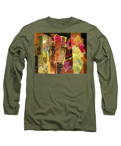 Long Sleeve T-Shirt featuring the painting City Colors by Rae Andrews