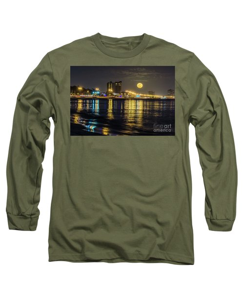 Long Sleeve T-Shirt featuring the photograph City Moon by Brian Wright