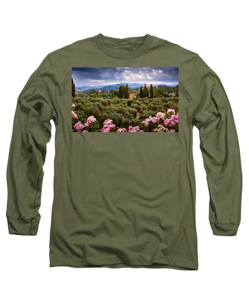 Tuscan Landscape With Roses And Mountains In Florence, Italy Long Sleeve T-Shirt