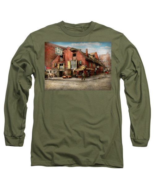Long Sleeve T-Shirt featuring the photograph City - Pa - Fish And Provisions 1898 by Mike Savad