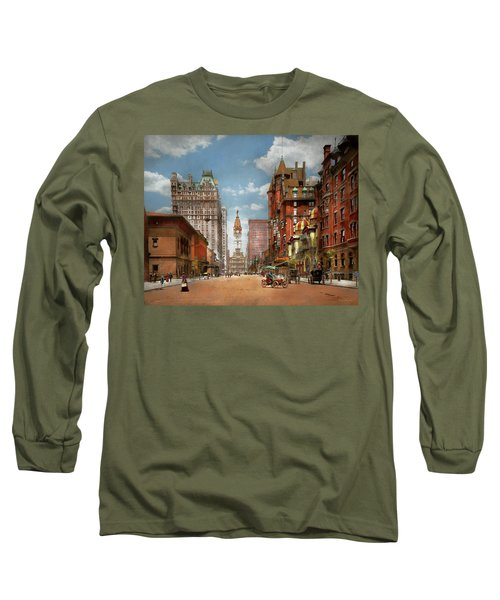 Long Sleeve T-Shirt featuring the photograph City - Pa Philadelphia - Broad Street 1905 by Mike Savad