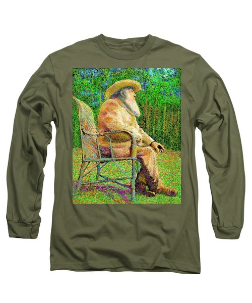 Claude Monet In His Garden Long Sleeve T-Shirt