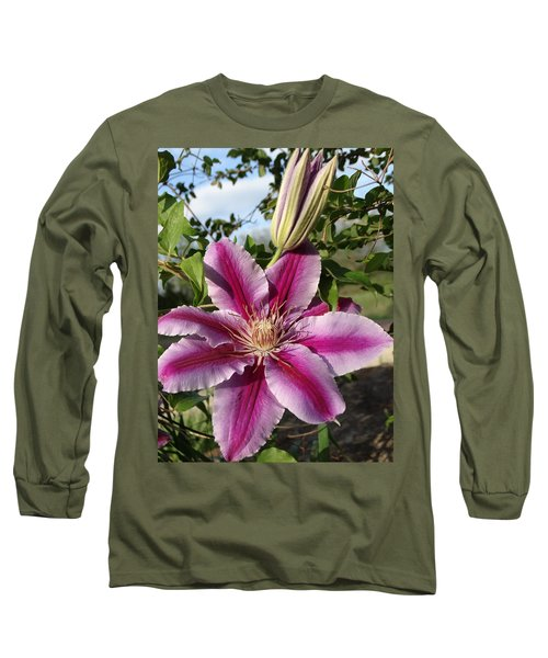 Clematis Petals Long Sleeve T-Shirt by Rebecca Overton