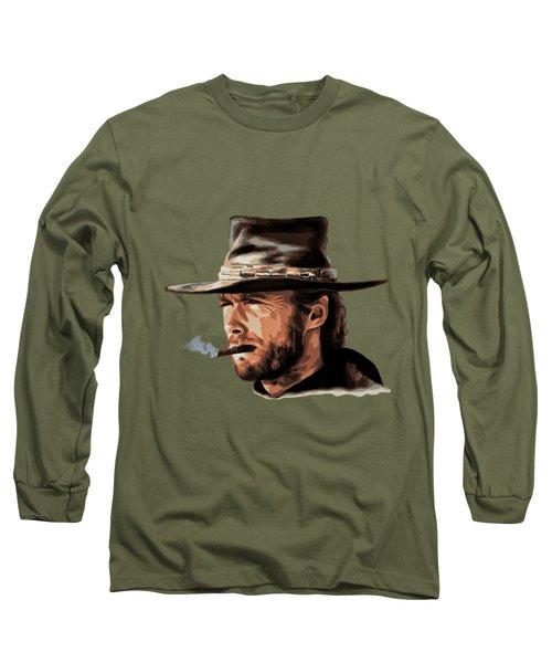 Long Sleeve T-Shirt featuring the digital art Clint by Andrzej Szczerski
