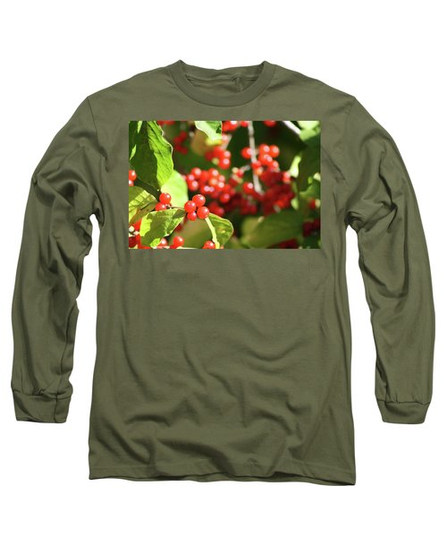 Close Up Of Red Berries Long Sleeve T-Shirt by Michele Wilson