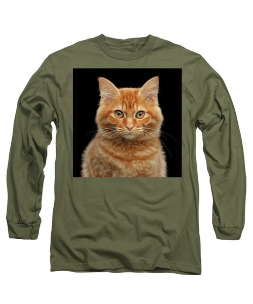 Close-up Portrait Of Ginger Kitty On Black Long Sleeve T-Shirt